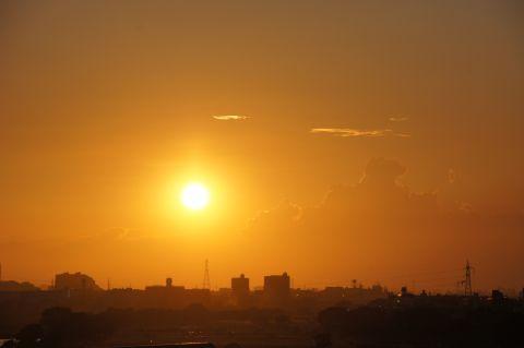 多摩川浅間神社から夕日