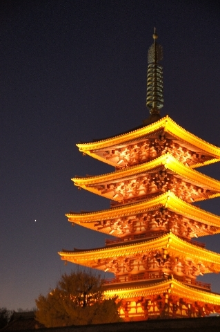 五重塔と宵の明星