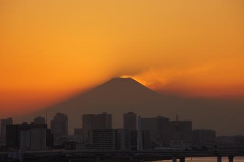 富士山に太陽が沈んだ!