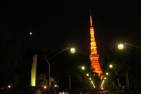 Vサインする東京タワー
