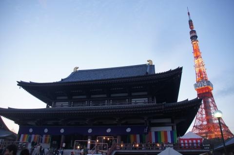 増上寺と年号表示の東京タワー
