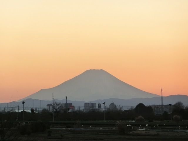 夕暮れ路上富士2