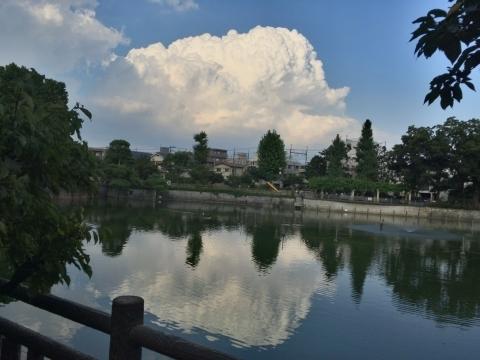 空と池の入道雲