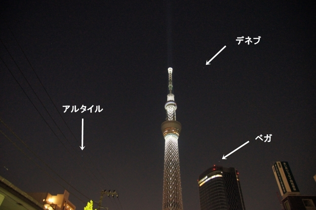 点灯した東京スカイツリーと夏の大三角形