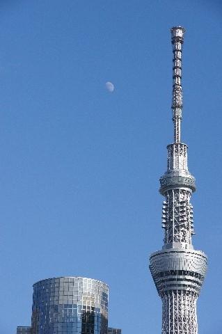 十日月と東京スカイツリー