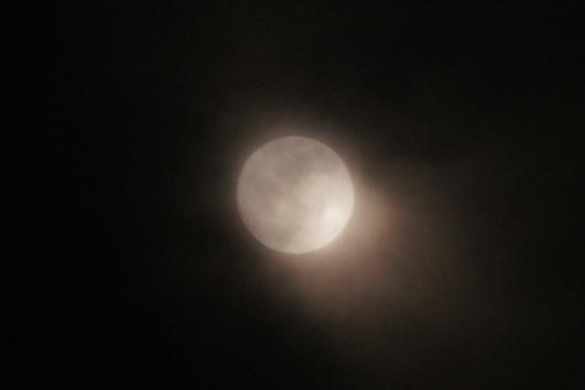 厚い雲の中に見つけた十六夜の月