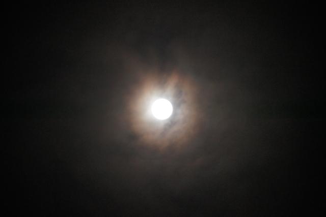 雲にぼんやり立待月の満月