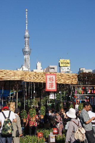 ほおずき市の屋台と東京スカイツリー