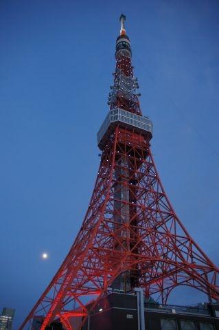 ライトアップされたばかりの東京タワーと