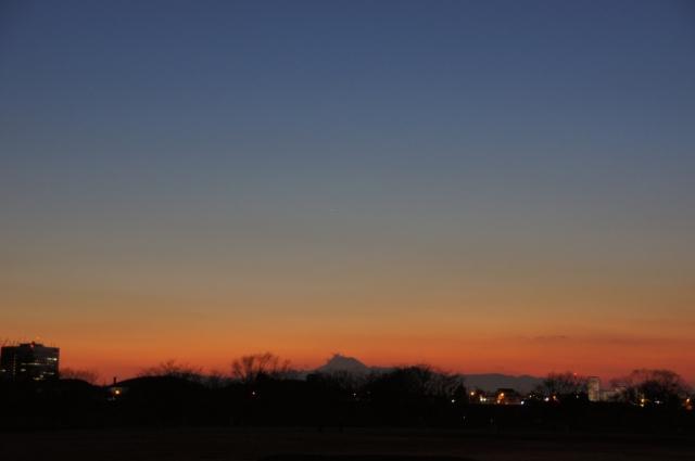 黄昏の富士山