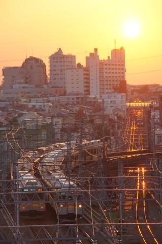 夕日に照らされる大井町線