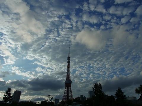 秋の空に東京タワー