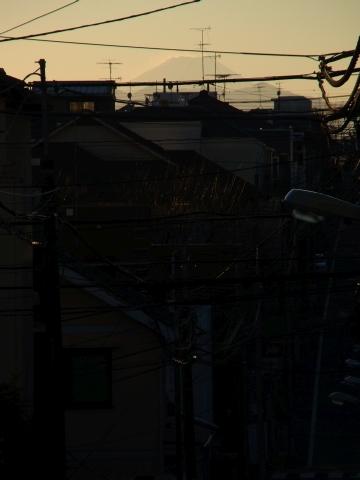 路上で富士山