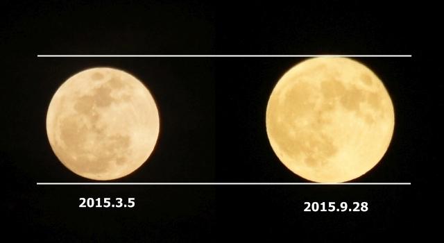 月の大きさ比べ