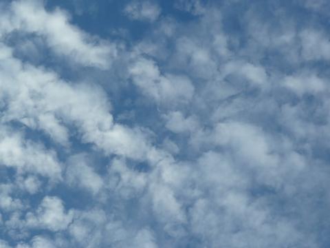 うろこ雲の中の月