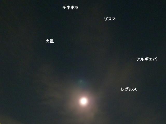 しし座の星と火星と寝待月
