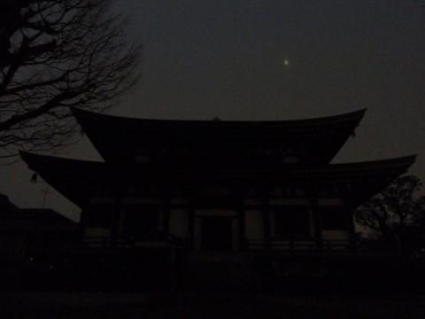 円融寺阿弥陀堂と二十三夜の月