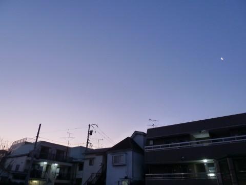 朝と夜のはざ間を漂う明け方の月