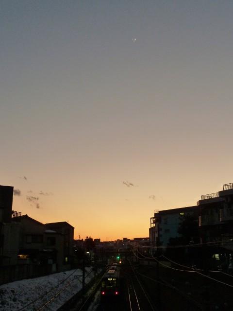 東急池上線と金星と月と