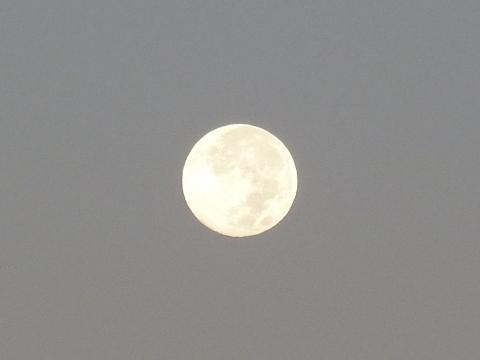 夜と朝の境目の中秋の名月