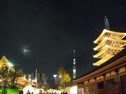 浅草寺と満月