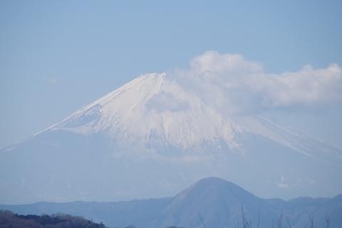 富士山を押し出そうとする雲