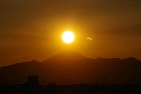 富士山上空の太陽