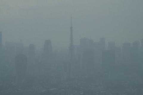 雨に霞む東京タワー
