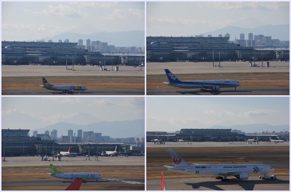 着陸した飛行機と富士山