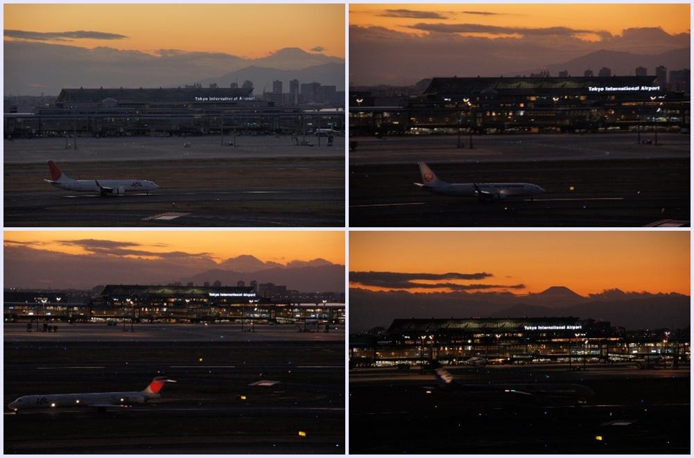 日没後の滑走路と富士山
